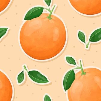 Nahtloses muster. sticker saftige süße orangen, zweig mit blättern. obst hintergrund oder tapete.