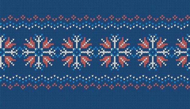 Nahtloses muster stricken. blaue gestrickte textur mit schneeflocken. weihnachtsrahmen. weihnachtsdruck