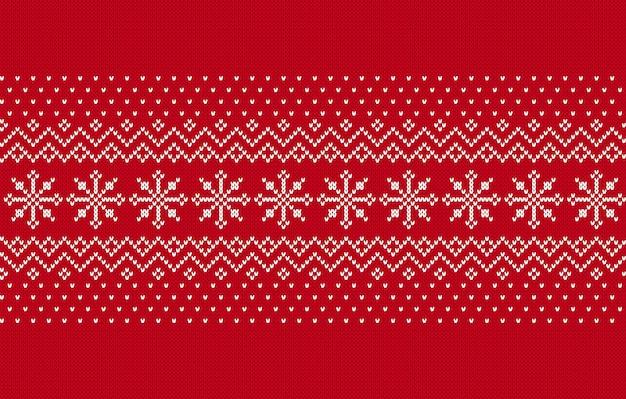 Nahtloses muster stricken. weihnachten roter hintergrund. vektor-illustration.