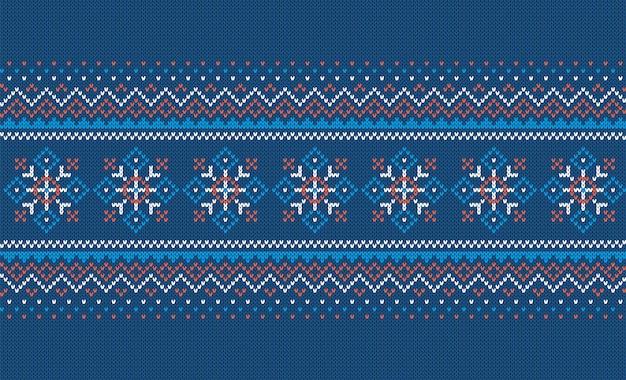 Nahtloses muster stricken. weihnachts-blaudruck. vektor-illustration.