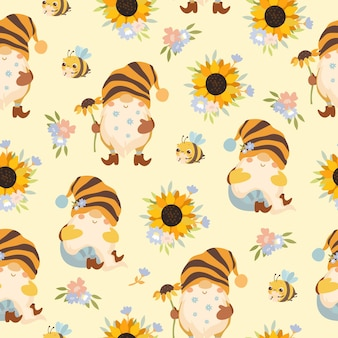 Nahtloses muster süße gnome mit sonnenblumen