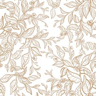 Nahtloses muster tee linearer zweig goldene blätter floraler grafischer garten vintage-hochzeitsdruck
