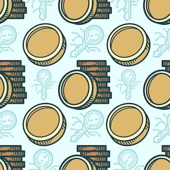 Nahtloses muster token-münzenkarikatur