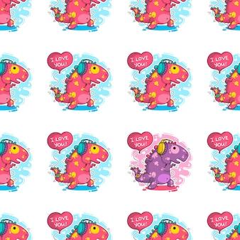 Nahtloses muster über dinosaurier in der liebe