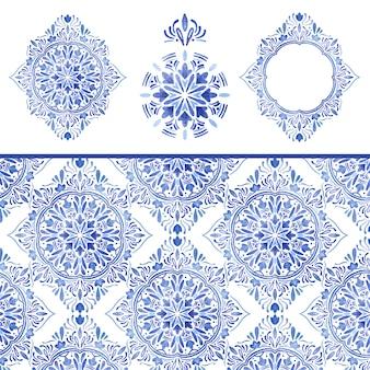 Nahtloses muster und dekorationen des blauen damastaquarells