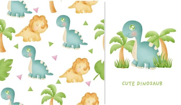 Nahtloses muster und grußkarte mit niedlichem dinosauriersammlungsaquarell