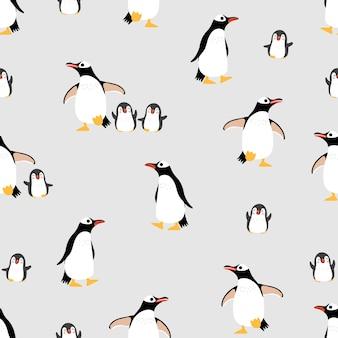 Nahtloses muster und hintergrund der netten pinguinfamilie.