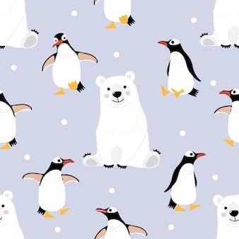 Nahtloses muster und hintergrund des eisbären und -pinguins.