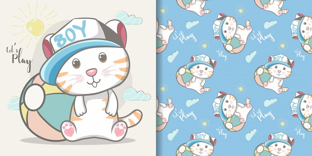 Nahtloses muster und illustrationskarte des netten babykatzenjungen