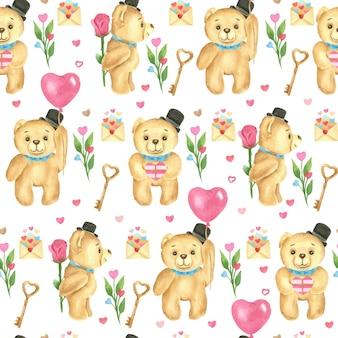 Nahtloses muster. valentinstag aquarell. teddybären, herzförmige luftballons, rosen und buchstaben