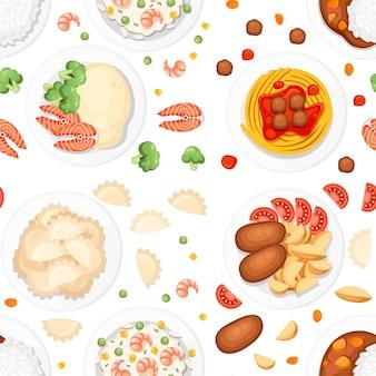 Nahtloses muster. verschiedene gerichte auf den tellern. traditionelles essen aus aller welt. symbole für menülogos und beschriftungen. flache illustration auf weißem hintergrund.