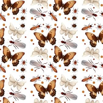 Nahtloses muster verschiedener insekten