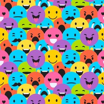 Nahtloses muster verschiedener smiley-emoticons