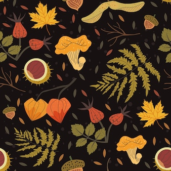 Nahtloses muster verziert mit floralen elementen wie kastanie, eichel, ahornblättern, bruyère, farn. herbsternteillustration, die als hintergrund für textil-, stoff-, packpapierdruck verwendet werden kann.