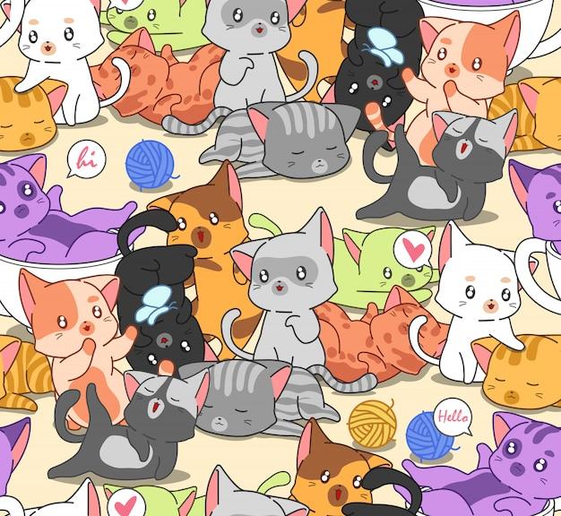 Nahtloses muster vieler kleiner niedlicher katzen.