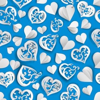 Nahtloses muster vieler papiervolumenherzen mit löchern und ohne, weiß auf hellblau