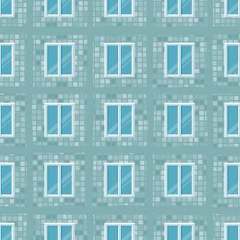 Nahtloses muster vom wohngebäude, mit fenstern. illustration. cartoon-stil.