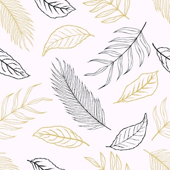 Nahtloses muster von abstrakten botanischen tropischen blättern linie kunst skizzenstil