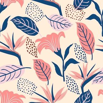 Nahtloses muster von abstrakten botanischen tropischen blumen und blättern