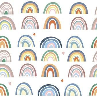 Nahtloses muster von abstrakten regenbögen
