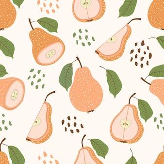 Nahtloses muster von abstrakten tropischen birnenfrüchten mit blättern und scheiben