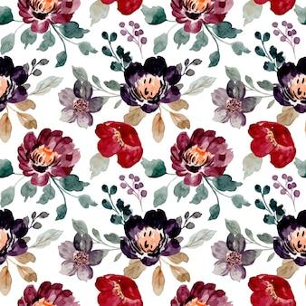 Nahtloses muster von aquarell-burgunderblumen