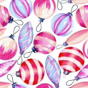 Nahtloses muster von aquarell weihnachtsdekorationen