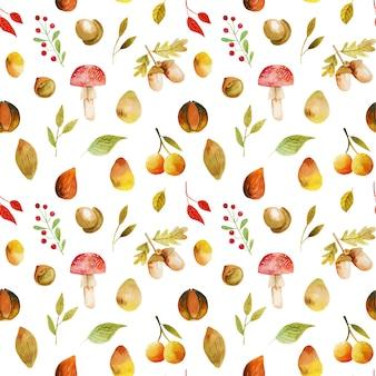 Nahtloses muster von aquarellherbstbaumblättern, fallwaldbeeren, eicheln und pilzen