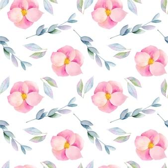 Nahtloses muster von aquarellrosa dornblumen und zweigen