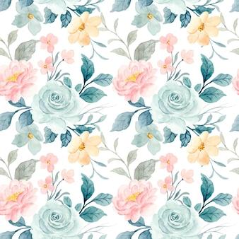 Nahtloses muster von aquarellrosenblumen