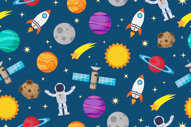 Nahtloses muster von astronauten und planeten im weltraum
