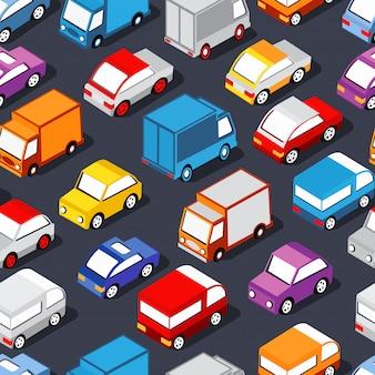 Nahtloses muster von autos Premium Vektoren