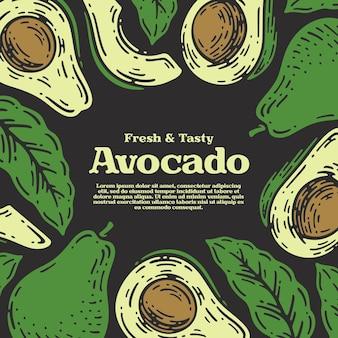 Nahtloses muster von avocado-früchten im gekritzel-vintage-stil