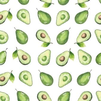Nahtloses muster von avocados und blättern, aquarellelemente lokalisiert auf weiß