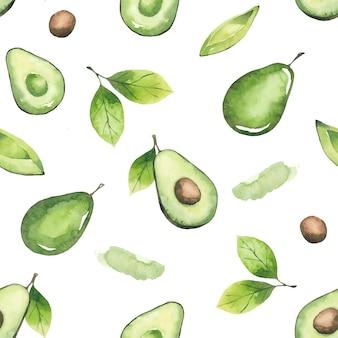 Nahtloses muster von avocados und blättern. aquarellelemente