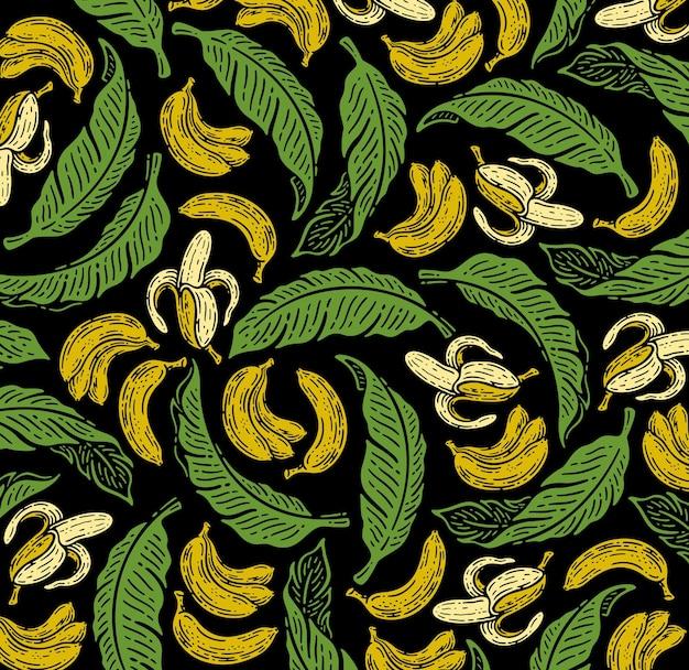 Nahtloses muster von bananenfrüchten und blättern im doodle-vintage-stil