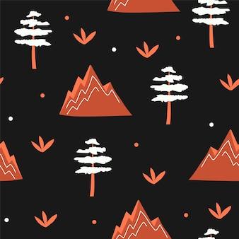 Nahtloses muster von bergen, bäumen - orange auf schwarzem hintergrund. skandinavische kinder vektorgrafik. für banner, karte, textil