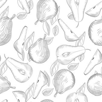 Nahtloses muster von birnen und blättern. geschnittenes obst. hand zeichnen fruchtbeschaffenheit.