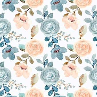 Nahtloses muster von blauen und cremefarbenen rosen mit aquarell
