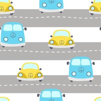 Nahtloses muster von blauen und gelben autos mit symbolfrieden. autos auf der straße.