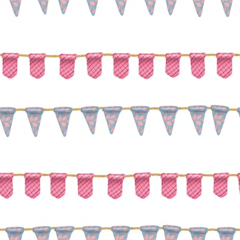 Nahtloses muster von blauen und rosa hängenden flaggen
