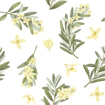 Nahtloses muster von blühenden olivenbaumzweigen und olivenblumen