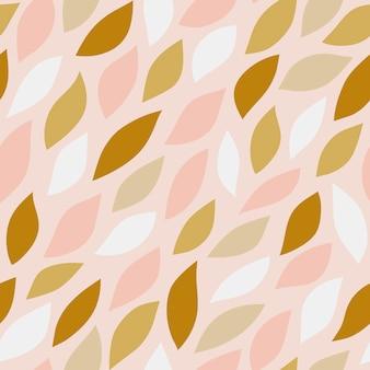 Nahtloses muster von blumenblättern auf rosa hintergrund