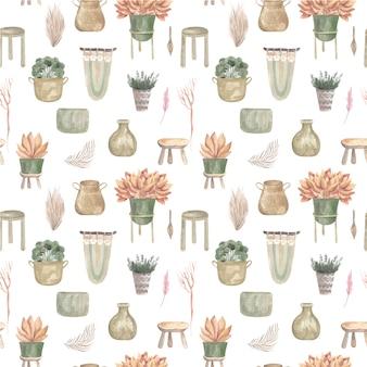 Nahtloses muster von boho-pflanzen und innenblumen in körben und hängenden töpfen makramee-dekor.