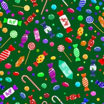 Nahtloses muster von bonbons, lutschern und süßigkeiten