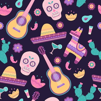 Nahtloses muster von cinco de mayo mit traditionellen mexikanischen symbolen schädel, kaktus, sombrero, gitarre, pinata und chili. trendige moderne handgezeichnete bunte elemente im flachen karikaturstil auf blauem hintergrund