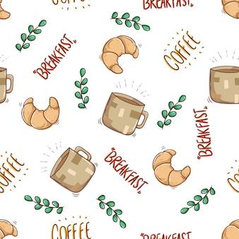Nahtloses muster von croissant mit einer tasse kaffee im doodle-stil