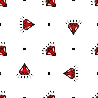 Nahtloses muster von diamanten. tattoo-muster der alten schule. vektor-illustration