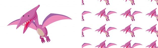 Nahtloses muster von dinosauriern auf weiß