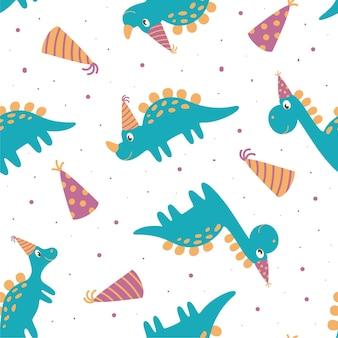 Nahtloses muster von dinosauriern im geburtstagshut. perfekt für kinderdesign, stoffe, verpackungen, tapeten, textilien, wohnkultur.